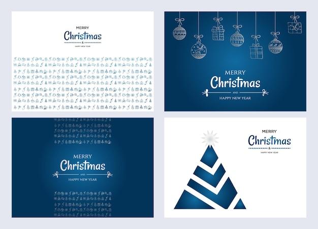 Prettige kerstdagen en gelukkig nieuwjaar posters of wenskaarten ontwerpen met hand getrokken doodles elementen collectie vectorillustratie. xmas banners met zilver en blauw verloop.
