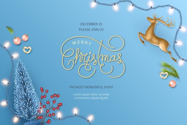 Prettige kerstdagen en gelukkig nieuwjaar realistische banner met kerstherten