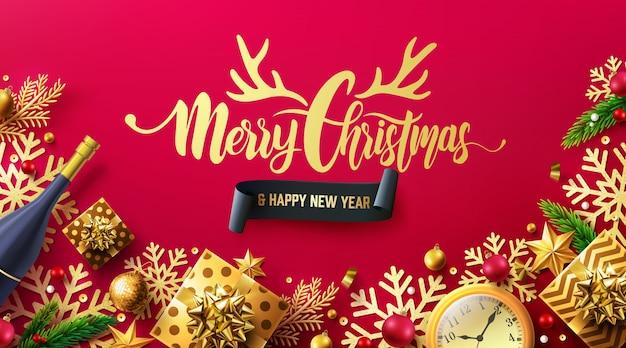 Prettige kerstdagen en gelukkig nieuwjaar rode poster met geschenkdoos en kerstdecoratie-elementen