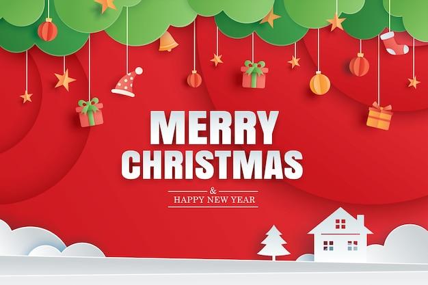 Prettige kerstdagen en gelukkig nieuwjaar rode wenskaart in papier kunst sjabloon voor spandoek gebruik voor poster cover flyer