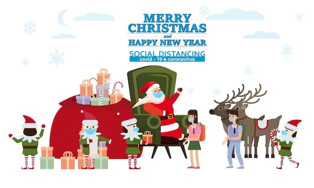 Prettige kerstdagen en gelukkig nieuwjaar santa claus met zijn elf helpers en herten geeft geschenken aan kinderen in zijn woning
