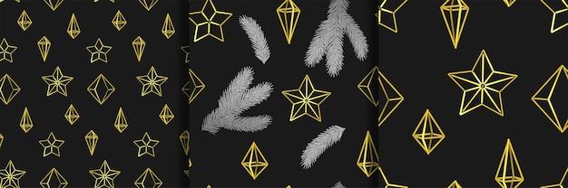 Prettige kerstdagen en gelukkig nieuwjaar scandinavische naadloze patronen set