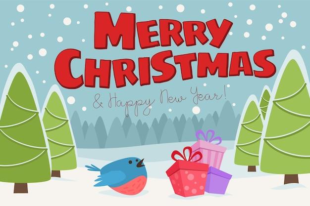 Prettige kerstdagen en gelukkig nieuwjaar schattige illustratie. kerstlandschap met sneeuw en kerstbomen.