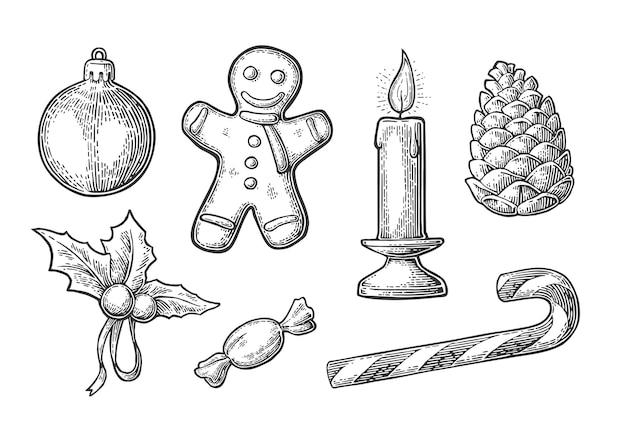 Prettige kerstdagen en gelukkig nieuwjaar set gingerbread man dennenappel snoep maretak kaars kegel speelgoed