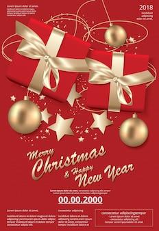 Prettige kerstdagen en gelukkig nieuwjaar sjabloon achtergrond
