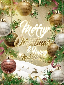 Prettige kerstdagen en gelukkig nieuwjaar sjabloonontwerp