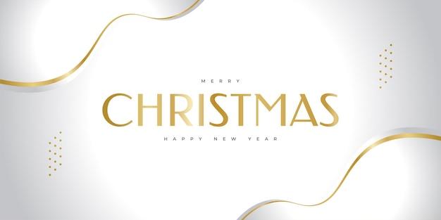 Prettige kerstdagen en gelukkig nieuwjaar spandoek of poster. elegante kerstwenskaart in wit en goud