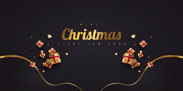 Prettige kerstdagen en gelukkig nieuwjaar spandoek of poster. elegante kerstwenskaart in zwart en goud met luxe geschenkdoos