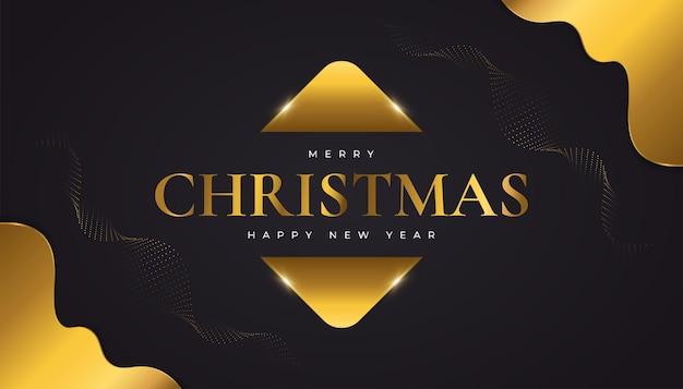 Prettige kerstdagen en gelukkig nieuwjaar spandoek of poster. elegante kerstwenskaart in zwart en goud