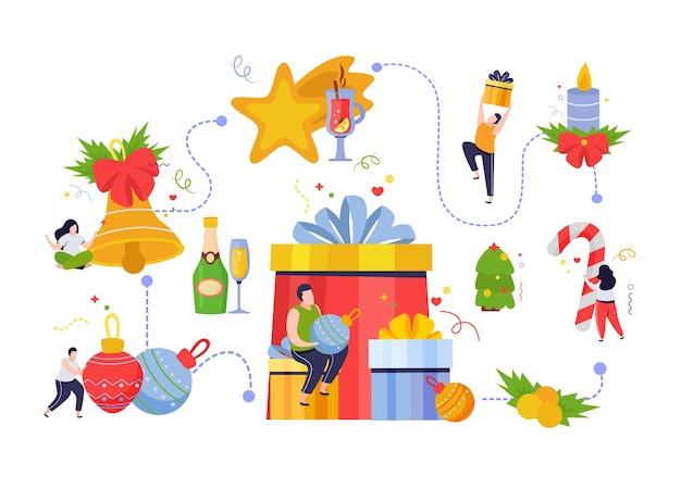 Prettige kerstdagen en gelukkig nieuwjaar stroomdiagram met decoratie en mensen