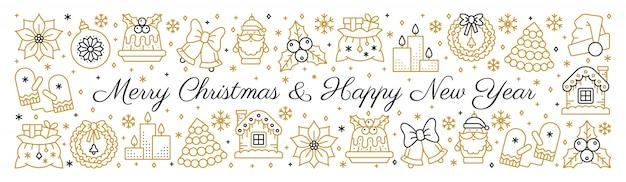Prettige kerstdagen en gelukkig nieuwjaar tekst horizontale gouden zwarte banner met lijn pictogram.