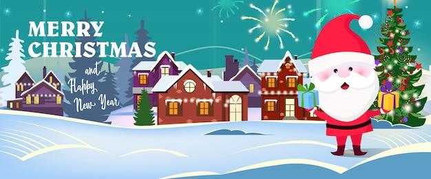 Prettige kerstdagen en gelukkig nieuwjaar tekst met de kerstman