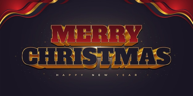 Prettige kerstdagen en gelukkig nieuwjaar tekst met luxe 3d-letters in rood, blauw en goud. vrolijk kerstontwerp voor spandoek, poster of wenskaart