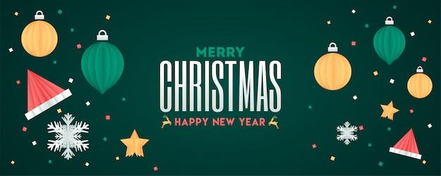 Prettige kerstdagen en gelukkig nieuwjaar tekst met origami papier kerstballen.