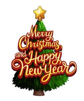Prettige kerstdagen en gelukkig nieuwjaar tekst op kerstboom