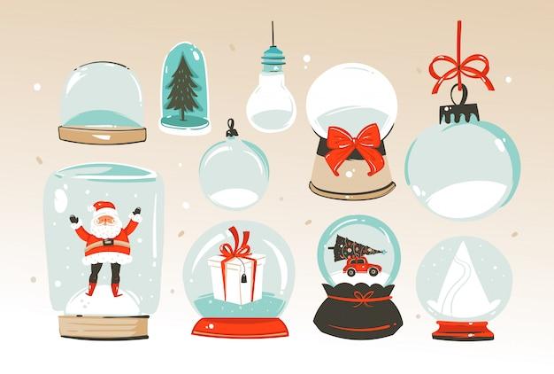 Prettige kerstdagen en gelukkig nieuwjaar tijd grote sneeuwbol bol illustraties collectie set geïsoleerd op een witte achtergrond