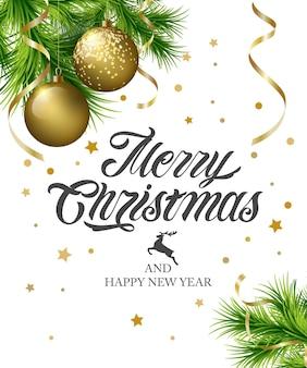 Prettige kerstdagen en gelukkig nieuwjaar typografieontwerp voor wenskaarten en poster.