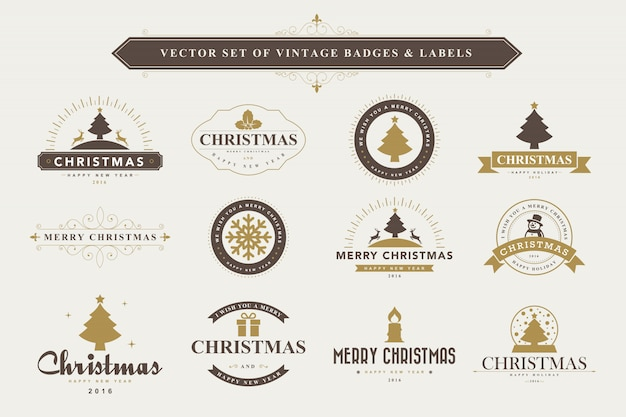 Prettige kerstdagen en gelukkig nieuwjaar typografische achtergrond