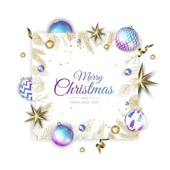 Prettige kerstdagen en gelukkig nieuwjaar vakantie witte banner illustratie.