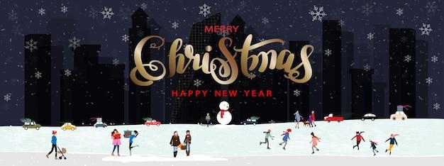 Prettige kerstdagen en gelukkig nieuwjaar vector banner winterlandschap in de stad met mensen die vieren
