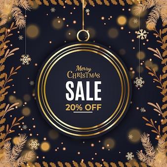 Prettige kerstdagen en gelukkig nieuwjaar verkoop achtergrond sjabloon of vierkante flyer
