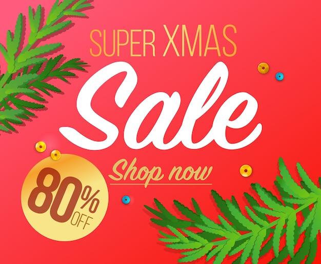 Prettige kerstdagen en gelukkig nieuwjaar verkoop banner.