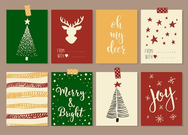 Prettige kerstdagen en gelukkig nieuwjaar vintage cadeau-tags en kaarten met kalligrafie. handgeschreven letters. hand getrokken ontwerpelementen.