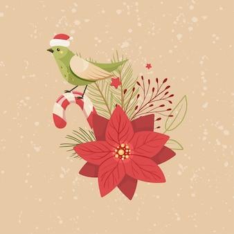 Prettige kerstdagen en gelukkig nieuwjaar vogels en bloemen.