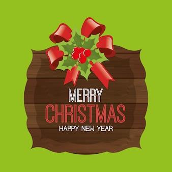 Prettige kerstdagen en gelukkig nieuwjaar wenskaart, cartoon stijl