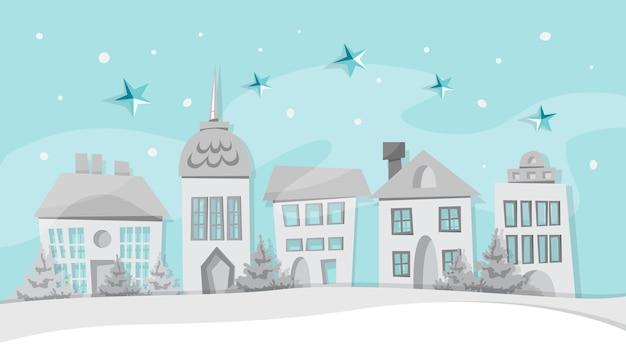Prettige kerstdagen en gelukkig nieuwjaar wenskaart decoratie met witboek stad. winterstad onder de sneeuw. illustratie in cartoon-stijl