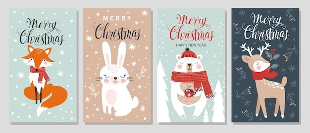 Prettige kerstdagen en gelukkig nieuwjaar wenskaart et met hand tekenen elementen.