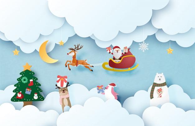 Prettige kerstdagen en gelukkig nieuwjaar wenskaart in papier gesneden stijl. kerstmisvieringsachtergrond met gelukkige santa claus en gelukkige dierlijke jonge geitjes.