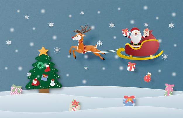 Prettige kerstdagen en gelukkig nieuwjaar wenskaart in papier gesneden stijl. kerstviering achtergrond.