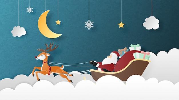 Prettige kerstdagen en gelukkig nieuwjaar wenskaart in papier gesneden stijl.