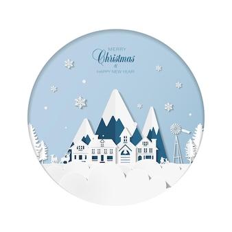 Prettige kerstdagen en gelukkig nieuwjaar wenskaart in papier knippen stijl op blauwe achtergrond ronde frame