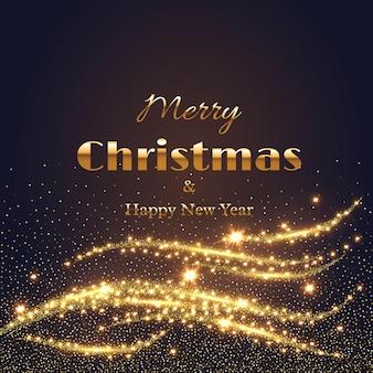 Prettige kerstdagen en gelukkig nieuwjaar wenskaart met gouden gloeiende lichten. abstracte gouden elementen. vector illustratie.