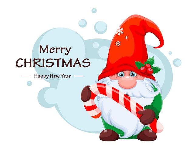 Prettige kerstdagen en gelukkig nieuwjaar wenskaart met grappige kabouter met zuurstok. leuke dwerg in het karakter van het rode hoedbeeldverhaal. voorraad vectorillustratie