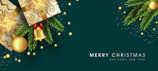 Prettige kerstdagen en gelukkig nieuwjaar wenskaart met mooie elementen