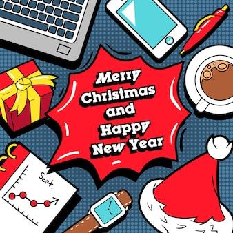 Prettige kerstdagen en gelukkig nieuwjaar wenskaart met office-elementen. achtergrond