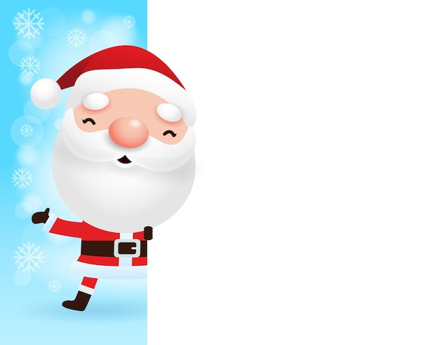 Prettige kerstdagen en gelukkig nieuwjaar wenskaart met schattige kerstman en groot bord in kerst sneeuw scène winter banner