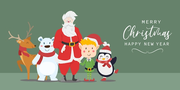 Prettige kerstdagen en gelukkig nieuwjaar wenskaart met schattige kerstman, rendieren, ijsbeer, elf jongen en pinguïn cartoon. vector illustratie.