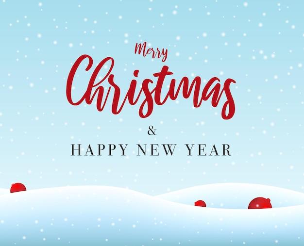Prettige kerstdagen en gelukkig nieuwjaar wenskaart met sneeuw achtergrond gratis vector