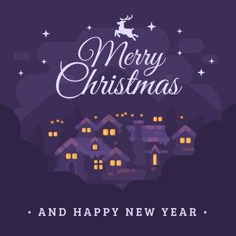 Prettige kerstdagen en gelukkig nieuwjaar wenskaart met ziek nacht bergdorpje landschap