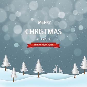 Prettige kerstdagen en gelukkig nieuwjaar wenskaart, nacht winterlandschap met tekst op grijze achtergrond Premium Vector