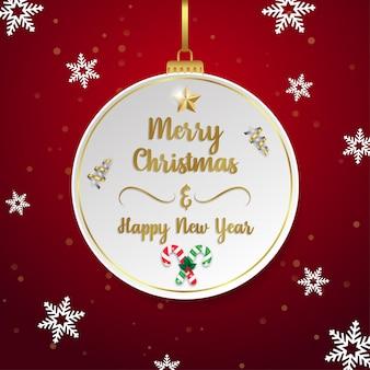 Prettige kerstdagen en gelukkig nieuwjaar wenskaart op papier buble