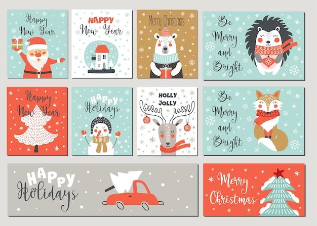 Prettige kerstdagen en gelukkig nieuwjaar wenskaart set met hand tekenen elementen.