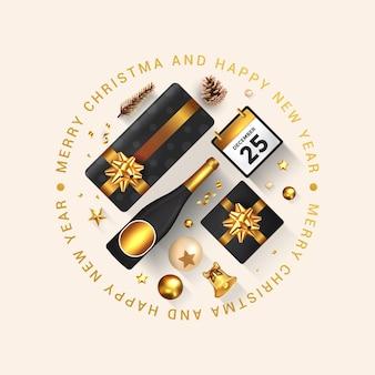 Prettige kerstdagen en gelukkig nieuwjaar wenskaart. vakantieontwerp versieren met geschenkdoos, gouden ballen, fles wijn en ster op lichte achtergrond.
