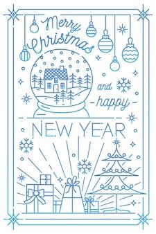 Prettige kerstdagen en gelukkig nieuwjaar wenskaartsjabloon met feestelijke decoraties getekend in lijn kunststijl