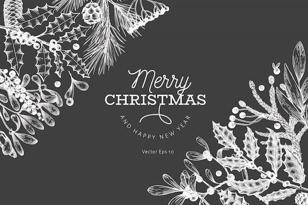 Prettige kerstdagen en gelukkig nieuwjaar wenskaartsjabloon. vector hand getrokken illustraties op schoolbord. wenskaart ontwerp in retro stijl.
