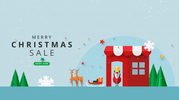 Prettige kerstdagen en gelukkig nieuwjaar. winter online op website of mobiele applicatie verkoop banner sjabloon banner.